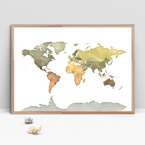 World map print digital watercolor world map wall art etsy image 0 gumiabroncs Images