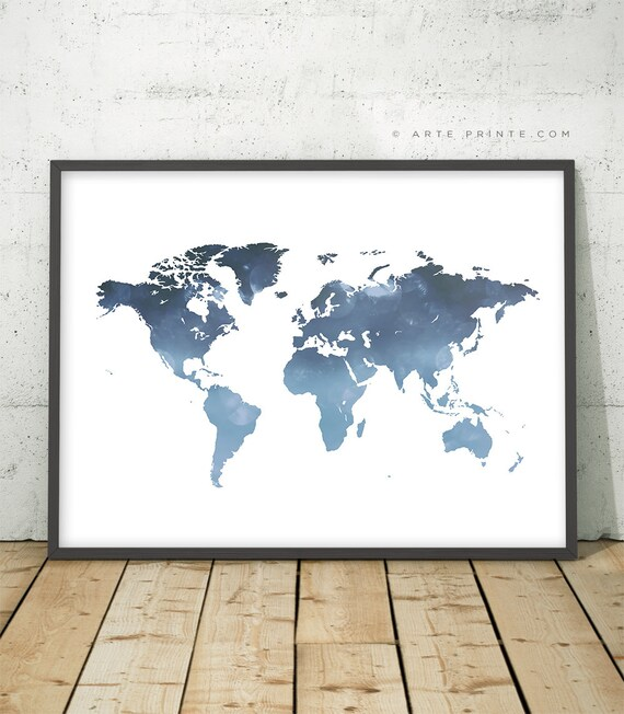 Blue printable world map wall art world map navy blue world etsy gumiabroncs Images