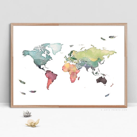 graphic regarding Large Printable World Map named Entire world MAP PRINTABLE, International Map with Watercolor Feathers, Heavy Map of the Planet, Nursery Environment Map, Hefty Poster Global Map Electronic Down load