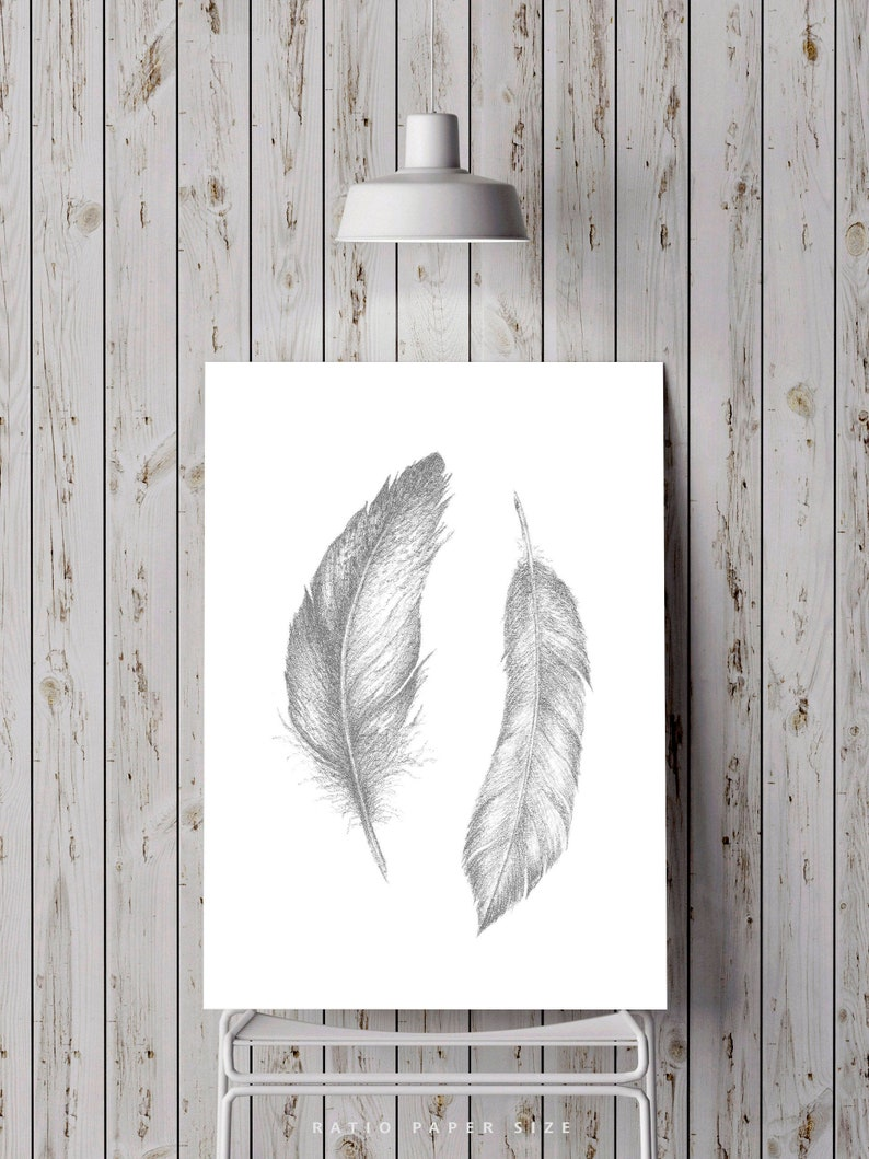 2 feathers art minimalist pencil drawing gray printable feather print illustration clipart downloadable modern boho wall art printable