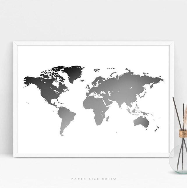 World map poster black and white minimalist world map etsy image 0 gumiabroncs Choice Image