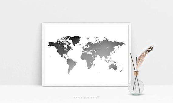 Grey world map print minimalist world map printable black gumiabroncs Image collections