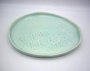 light turquoise dish, handmade dishes, table accessory, aperitif dish, cheese platter, handmade pottery, artisanal ceramics,