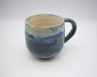 Handcrafted mug, ceramic pottery, gray blue tableware, tea art, coffee art, rustic gift, craft gift, handmade, tableware