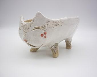 Animal pot cupelle, ceramic fairy planter, cat sculpture, succulent cactus plantation, balcony garden decoration
