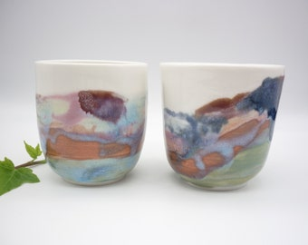 2 handcrafted cups, ceramic pottery, pink orange dishes, tea art, coffee art, artist coffee, rustic gift, handcrafted gift, handmade