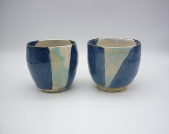2 handcrafted cups, ceramic pottery, blue dishes, tea art, coffee art, artist coffee, rustic gift, handcrafted gift, handmade