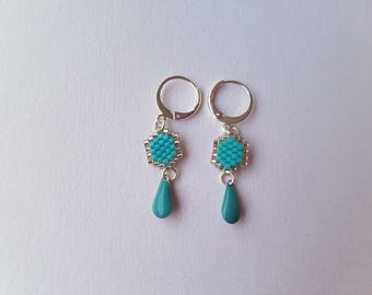 Earrings dangle fancy turquoise and silver