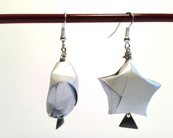 Silver Star earrings - origami.