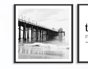 California Wall Art, Ikea Ribba Print, Malibu California, Ikea Ribba Photograph, California Photograph, Bedroom Wall Art, Black White Photo