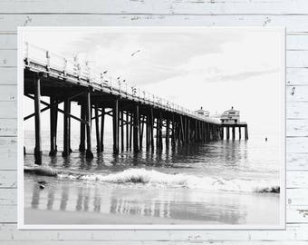Malibu Pier Print - CALIFORNIA WALL ART, Digital Download, Black White Print, Black White Bedroom Wall Art, Coastal Decor, Malibu Printable