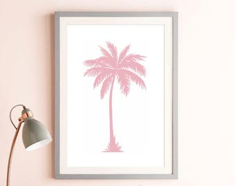 Pink Palm Tree Print, Pastel Pink, Coastal Decor, Pink Decor, Pink Wall Art Print, Tropical Wall Art, Digital Download, Palm Tree Download