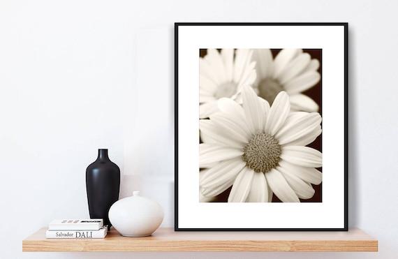 Sepia Print Daisies SEPIA WALL ART Flowers Contemporary | Etsy