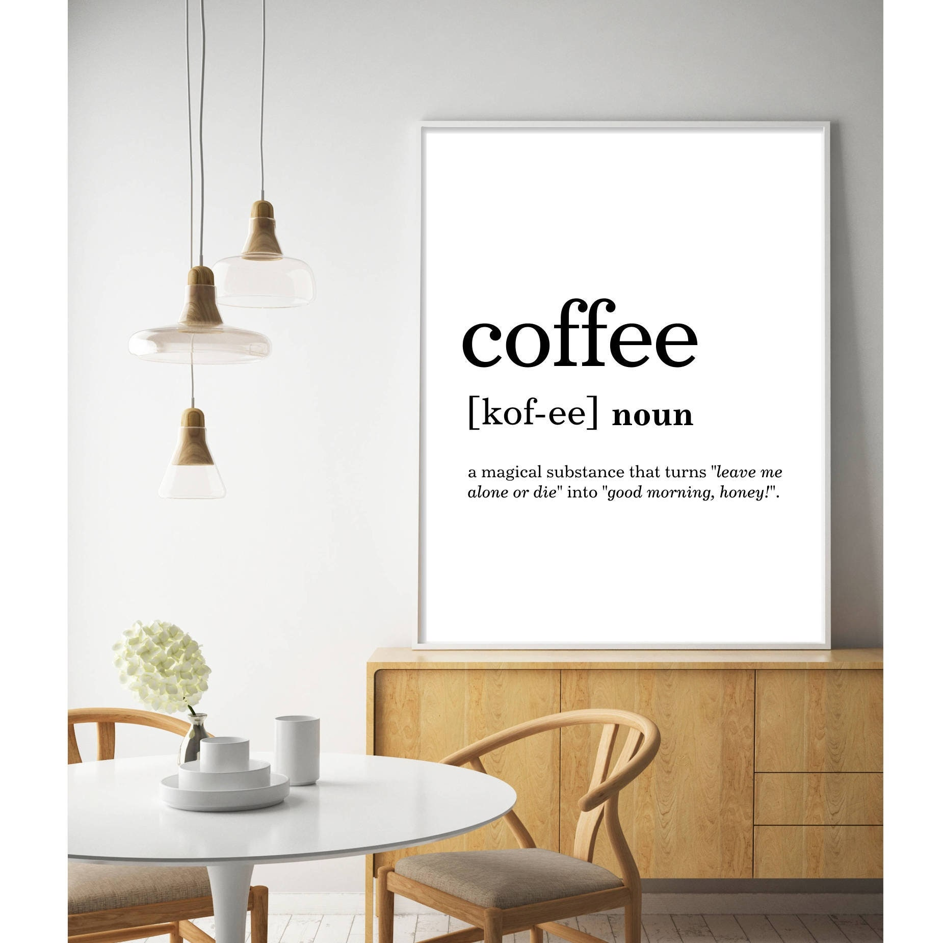 Kitchen Dictionary: Kitchen Decor Funny Coffee Print Dictionary Prints Large