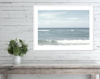 Pale Blue Ocean Print, BEACH BATHROOM DECOR, Pale Blue Wall Art, Printable Art, Digital Download, Pale Blue Download, Ocean Photo Pale Blue
