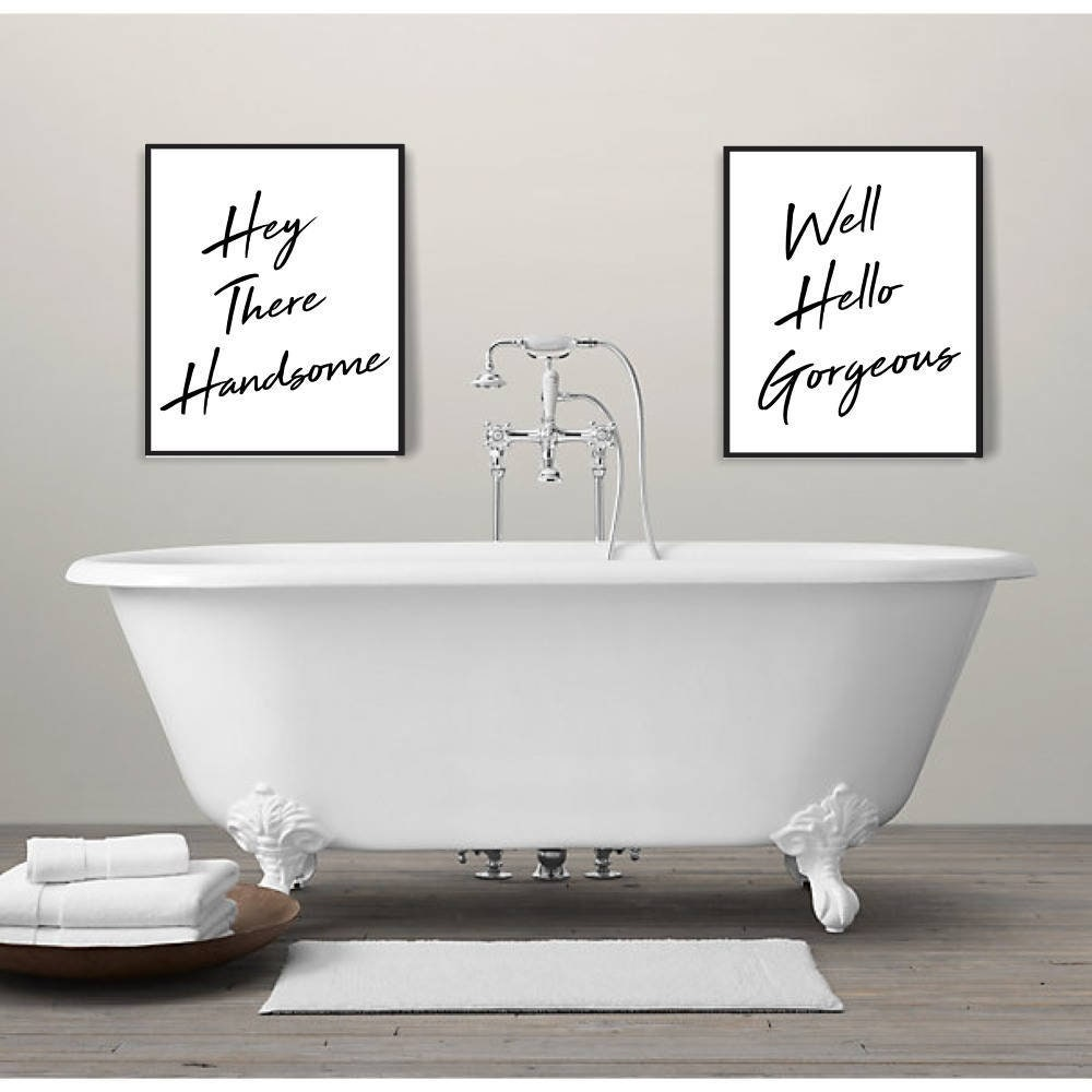 Hey there handsome print modern bathroom wall art printable wall art digital download bathroom wall art chic bathroom decor handsome