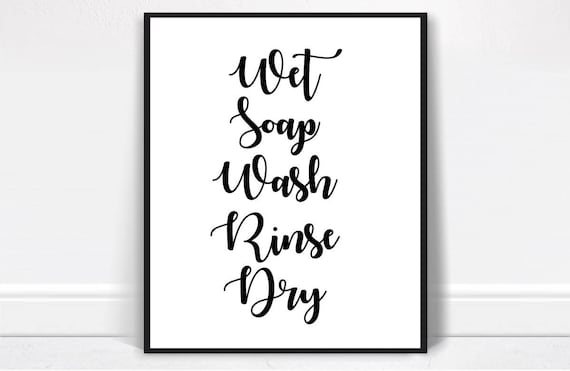 Hand Washing Instructions Bathroom Decor Digital Download Etsy