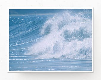 Blue Ocean Wave Print - Ocean Wall Art, Digital Download, Blue Wave Print, Beach Decor, Surfing Picture, Printable Wall Art, Ocean Decor