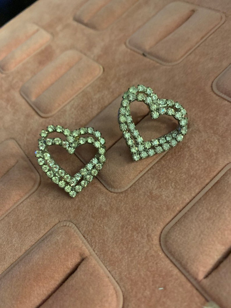 Vintage Double Heart Earrings! Covered in Rhinestones! Silver Tone, Love,  2D Design, Post Back, Pierced Ears, Love, Valentines