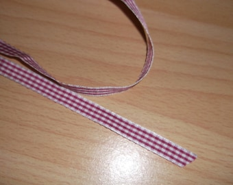 Gingham red and white 10mm Ribbon