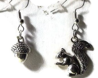 Squirrel and his Acorn earrings/gift/birthday/Christmas