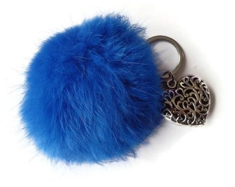 Bag charm - Keyring fur Pompom fur blue angora and engraved heart ball