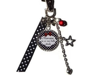 """"" Godmother Keyring, bag charm godmother gift godmother ""Godmother you're my stars"", personalized keychain"