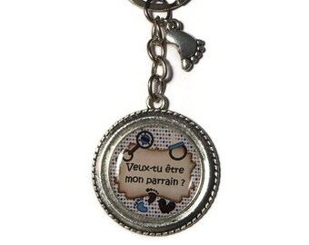 """Keyring gift future GODFATHER """"will you be my godfather""""-baptism gift"""