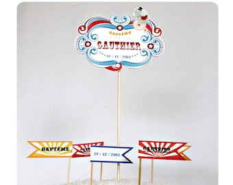"cake decorations to personalize ""circus"": cake topper and flags on wooden picks"