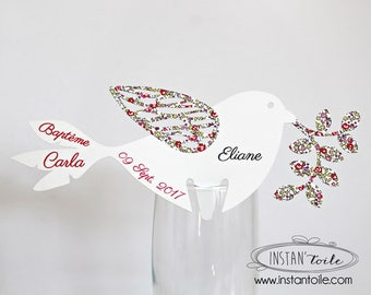 Mark place on glass: pink Eloïse liberty bird to customize with date, event and guest name for Baptism...