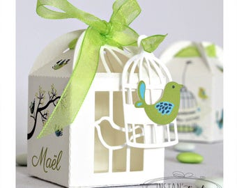 """Box dragees delivered mounted - turquoise blue lime green - themed """"birds, tree branch and bird cages"""""""