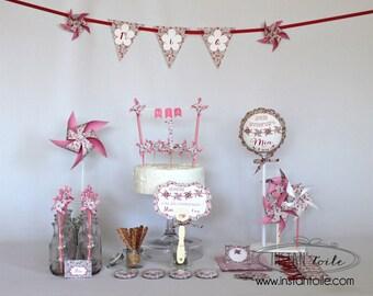 "decorative birthday Kit ""windmills and liberty Eloise pink"""
