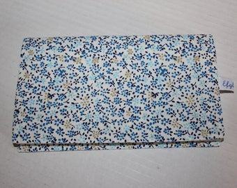 Cotton floral fabric checkbook