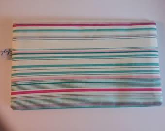Cotton fabric checkbook striped tone turquoise