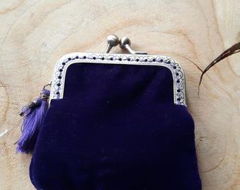 Wallet dark purple velvet and antique bronze clasp.