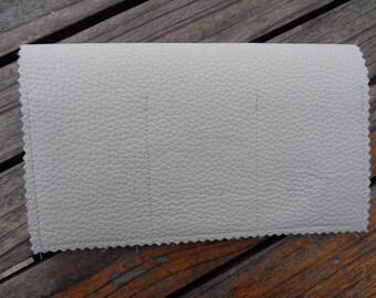 Off-white leather CHECKBOOK holder