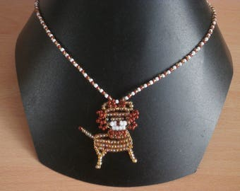 """""""LION"""" necklace with seed beads."""