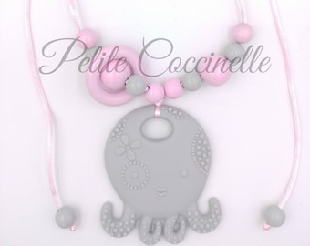 Light gray Octopus ring, pink, light gray nursing and Babywearing necklace and pink (82cm max)
