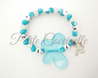 Bracelet turquoise nursing feature white and white iridescent, butterfly and fairy charm