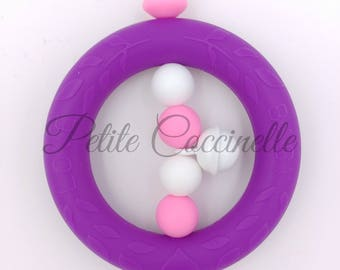 Teething rattle circle all silicone and Bell, purple, pink and white