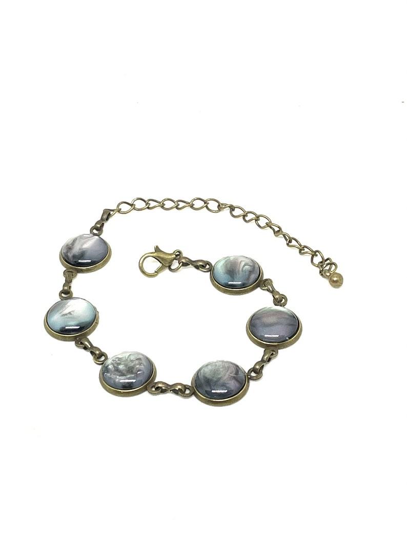 Black bronze metal iridescent bracelet