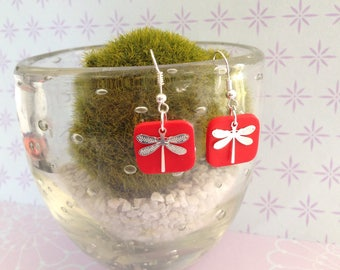 Square Dragonfly earrings red United
