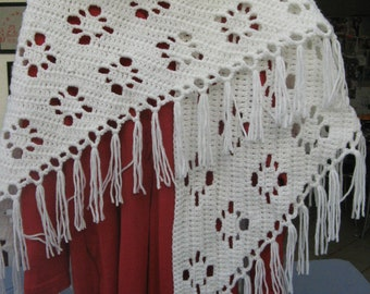 Crocheted white shawl