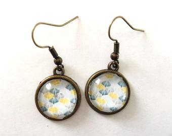 bronze vintage Dangling earrings polka dots glass cabochon trend