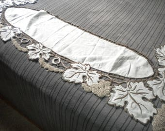 TOP OF DRESSER, MANTEL OR CONSOLE EMBROIDERED LINEN