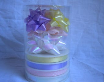 assorted pastel gift wrapping for ribbons and bows