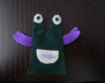 felt finger puppet Monster Green