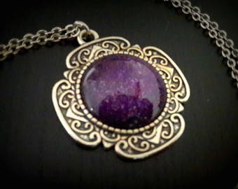 Purple Galaxy purple glitter necklace, Galaxy pendant necklace