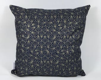 Pillow cover, 40 x 40 cm, graphic pattern Navy Blue and gold - 40 x 40. Cotton and confetti