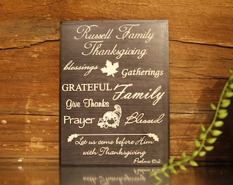 Personalized Family Thanksgiving Plaque 6x8
